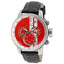 Invicta Men's S1 Rally Chronograph Red & White Dial Black Leather Watch 19900
