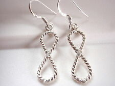 Infinity Rope Style Earrings 925 Sterling Silver Dangle Drop New