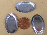 1:12 Scale 3 Oval Tin Tray's Dolls House Miniature Food Metal Tray Accessory M