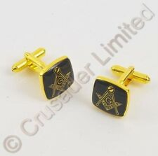 NEW Masonic Cufflinks with Black & Gold Emblem  13999