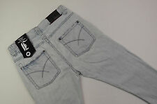 E-065 MENS INSIGHT 51 DISTRESSED BLUE FADE BUTTON FLY DENIM JEANS SIZE 30 EUC