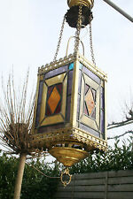 Antique religious church stained glass coloured chandelier lantern 1880 French