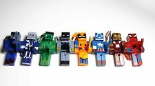 8 Minecraft Style Marvel/DC Superhero Toy Figures With Weapons *UK Seller*
