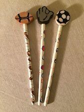 Vintage 1980s Sports Pencils & Erasers Football Baseball Soccer