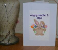 A new machine embroiderded hand finished mothers day cards -- Rabbit .