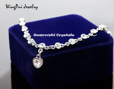 Made with Swarovski Heart White Round Crystal 18K Gold Plated Bracelet Bangle*