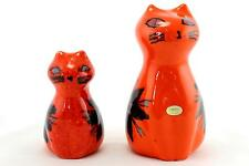 2 x orange & black Swedish studio pottery cats by Deco.1970's. Retro