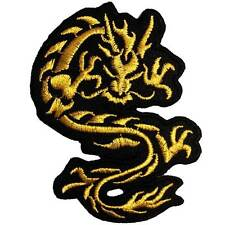 Gold Dragon Motorcycle Biker Embroidered Iron on Patch