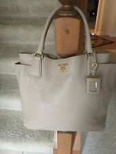 Prada Beige Vitello Daino Leather Shoulder Bag Shopper Tote