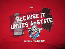 Majestic BECAUSE IT UNITES A STATE in NEW JERSEY DEVILS 2012 (XL) T-Shirt Jersey