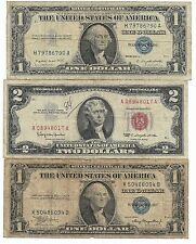 100% Old US BLUE SEAL Silver Certificate USA RED Two Dollar Bill Collection Lot