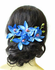 Long Blue Orchid Flower Stem Hair Clip Fascinator Headpiece Rockabilly 50s 1639