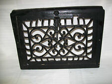 FANCY BLACK ENAMELED VICTORIAN CAST IRON HEAT VENT GRATE, 14.75 X 10.5 SIZE