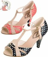 BANNED 50's NORMA T-BAR polka dot SHOES heels NAVY or CORAL