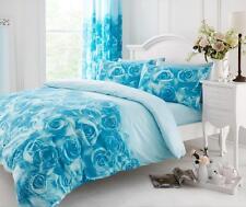 Rossette nei colori foglia di tè/Blu Super King copripiumino con federe per cuscini Set di biancheria da letto