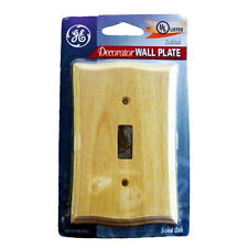 GE 51149 Decorator Stainable Wall Plate Switch Light Cover Solid Oak Single Wood