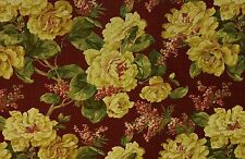 BRAEMORE CAMILLA RED FLORAL YELLOW NUBBY COTTON FURNITURE FABRIC BY THE YARD