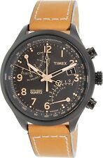 Timex Men's IQ T2N700 Brown Calf Skin Quartz Watch