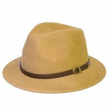 Wool Fedora Felt Trilby Hat With Faux-Leather Belt, Handmade in Italy