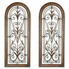 """TWO HUGE 50"""" BROWN ARCHED HAND FORGED METAL MEXICO STYLE WALL ART WINDOW DECOR"""