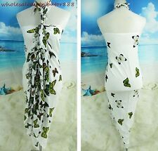 hippie clothing beach sundress flying butterfly sarong green yellow white UN22