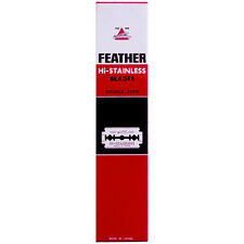 100ct FEATHER Hi-Stainless DE razor blades - 20 packs of 5 blades