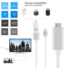 US 3 in 1 USB to HDMI HDTV HD Mirroring Adaptor Cable For iPhone 7 7Plus