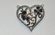 18k OVER STERLING RED & WHITE DIAMOND HEART PENDANT! NEW! .20TCW! SUNSET RED!