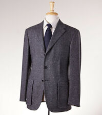 NWT $3295 D'AVENZA Charcoal Gray Woven Tweed Wool Blazer 46 R Sport Coat (Eu 56)