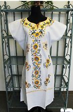 MEXICAN DRESS WHITE Embroidered MANTA Huipil 100% Cotton Mexico Floral