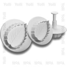 Sugarcraft Cutter Plunger Set - Veined Rose Leaf Leaves Cake Decorating Design
