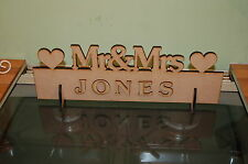 Mr & Mrs Top Table Wedding Wooden Decoration Sign Heart(Blank Finish yourself)