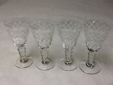 Mid Century Vintage Cut Glass Cordial glasses(4) with balustrade stems