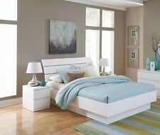 4 Piece White Queen Size Platform Bed Bedroom Furniture Collection Set Home