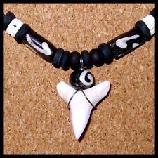 REAL MAKO SHARK TOOTH pendant necklace wood beads surfer boy men women beach new