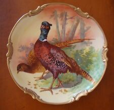 "LIMOGES CORONET HAND PAINTED SIGNED ""COUDERT"" PLATE CHARGER, BIRDS, 10 3/4"""