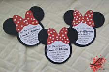 5 Handmade Minnie Mouse Birthday Invitation or Baby Shower Invitations