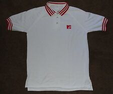 Vintage MTV Music Television Button Up Polo White Red Shirt Large 1980s
