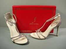 Rene Caovilla Strappy Jeweled Silver T-Strap Evening Sandal Heels 36.5/6.5 NEW