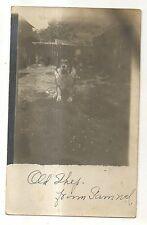 "RPPC Cute Dog, Puppy ""Old Shep"" in Yard Vintage Americana Real Photo Postcard"