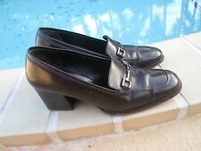 GUCCI DARK BROWN LEATHER CHUNKY HEEL LOAFER SHOES Sz 6.5B MADE IN ITALY