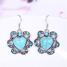Fashion Women Jewelry Turquoise heart Pendant Tibet silver Hook dangle Earrings