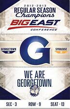 2012-13 GEORGETOWN HOYAS VS SYRACUSE EAST CHAMPIONSHIP GAME TICKET STUB BSKBALL