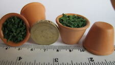 2 Miniature Garden TERACOTTA Plant Pot Grass filled tiny-craft TCMEF2 1:12 #91