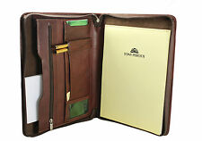 Tony Perotti Italian leather zip round conference folder/Brown