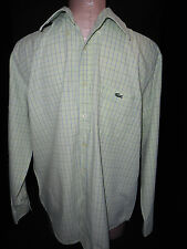 Lacoste Mens Long Sleeve Button Front Shirt Green & White Stripe Size S Small