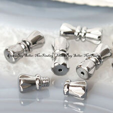 10Pcs White Gold Plated Screw Clasp Connector Findings For Jewelry Making 5x12mm