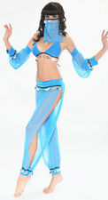 Sexy Blue Belly Dancer Arabian Princess Jasmine Halloween Costume 6 8 10