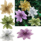"2Pcs 6"" Christmas Flowers Xmas Tree Decoration Glitter Hollow Wedding Party BBUK"