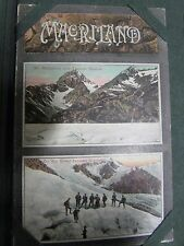 NEW ZEALAND MAORI CARVING MT. MALTEBRUN TASMAN GLACIER ANTIQUE PHOTO POSTCARD
